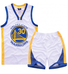 Youth NBA Golden State Warriors 30# Steve Curry White Suit Sets