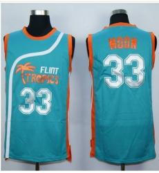 Flint Tropics #33 Jackie Moon Blue Semi-Pro Movie Stitched Basketball Jersey