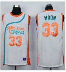 Flint Tropics #33 Jackie Moon White Semi-Pro Movie Stitched Basketball Jersey