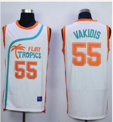 Flint Tropics #55 Vakidis White Semi-Pro Movie Stitched Basketball Jersey