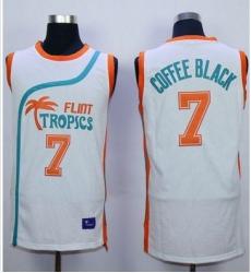 Flint Tropics #7 Coffee Black White Semi-Pro Movie Stitched Basketball Jersey