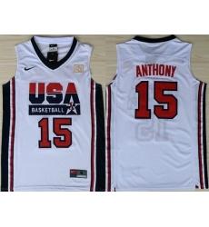 1992 Olympics Team USA 15 Carmelo Anthony White Swingman Jersey