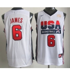1992 Olympics Team USA 6 LeBron James White Swingman Jersey