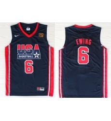 1992 Olympics Team USA 6 Patrick Ewing Navy Blue Swingman Jersey