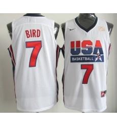 1992 Olympics Team USA 7 Larry Bird White Swingman Jersey