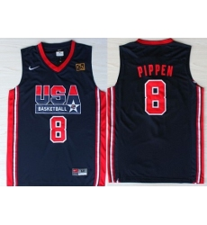 1992 Olympics Team USA 8 Scottie Pippen Navy Blue Swingman Jersey