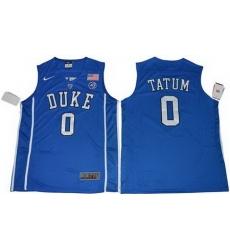 Blue Devils #0 Jayson Tatum Blue Basketball Elite Stitched NCAA Jersey