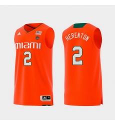 Men Miami Hurricanes Willie Herenton Orange Replica College Basketball Jersey