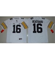 Hawkeyes #16 C  J  Beathard White Stitched NCAA Jersey