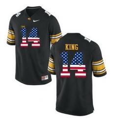 Iowa Hawkeyes 14 Desmond King Black USA Flag College Football Limited Jersey