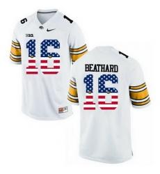 Iowa Hawkeyes 16 C J Beathard White USA Flag College Football Limited Jersey