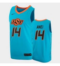 Men Oklahoma State Cowboys Yor Anei College Basketball Blue Jersey