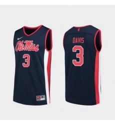 Men Ole Miss Rebels Terence Davis Navy Replica College Basketball Jersey