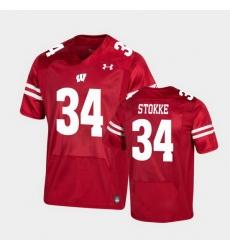 Men Wisconsin Badgers Mason Stokke Premier Red Football Jersey