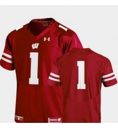 Men Wisconsin Badgers Red College Football Team Replica Jersey