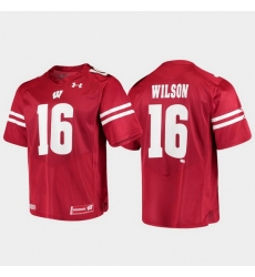 Men Wisconsin Badgers Russell Wilson 16 Red Alumni Football Game Replica Jersey