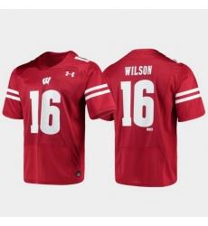 Men Wisconsin Badgers Russell Wilson 16 Red Replica Alumni Football Jersey