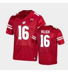 Men Wisconsin Badgers Russell Wilson Premier Red Football Jersey
