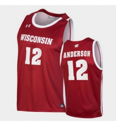Men Wisconsin Badgers Trevor Anderson Replica Red College Basketball Jersey