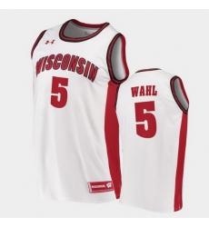 Men Wisconsin Badgers Tyler Wahl Replica White College Basketball Jersey