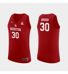 Men Houston Cougars Caleb Broodo Red Replica College Basketball Jersey