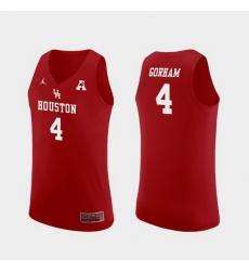 Men Houston Cougars Justin Gorham Red Replica College Basketball Jersey