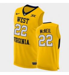 Men West Virginia Mountaineers Sean Mcneil Alternate Yellow Authentic Jersey