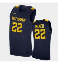 Men West Virginia Mountaineers Sean Mcneil Replica Navy College Basketball Jersey