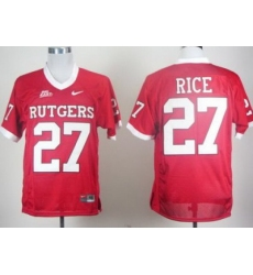 Rutgers Scarlet Knights 27# Ray Rice Red Big East Patch College Football Jersey
