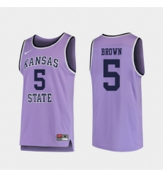 Men Kansas State Wildcats Barry Brown Jr. Purple Replica College Basketball Jersey