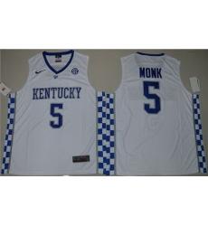 Wildcats #5 Malik Monk White Basketball Elite Stitched NCAA Jersey