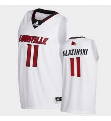 Men Louisville Cardinals Quinn Slazinski College Basketball White Swingman 2020 21 Jersey