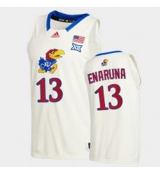 Men Kansas Jayhawks Tristan Enaruna College Basketball Cream New Season 2020 21 Jersey