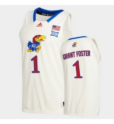 Men Kansas Jayhawks Tyon Grant Foster College Basketball Cream New Season 2020 21 Jersey