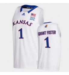 Men Kansas Jayhawks Tyon Grant Foster College Basketball White New Season 2020 21 Jersey