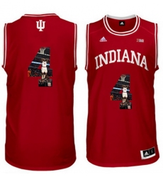 Indiana Hoosiers 4 Victor Oladipo Red With Portrait Print College Basketball Jersey