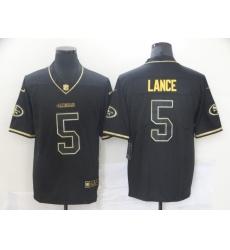 Nike 49ers 5 Trey Lance Black Gold Vapor Untouchable Limited Jersey