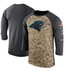 Men Carolina Panthers Nike Camo Anthracite Salute to Service Sideline Legend Performance Three Quarter Sleeve T Shirt