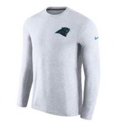 Men Carolina Panthers Nike White Coaches Long Sleeve Performance T Shirt