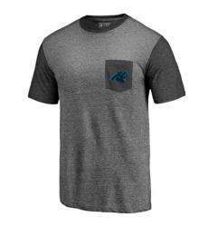 Men Carolina Panthers Pro Line by Fanatics Branded Heathered GrayBlack Refresh Pocket T Shirt