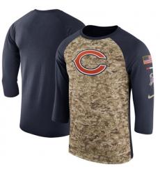 Men Chicago Bears Nike Camo Navy Salute to Service Sideline Legend Performance Three Quarter Sleeve T Shirt