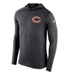 Men Chicago Bears Nike Charcoal Stadium Touch Hooded Performance Long Sleeve T Shirt