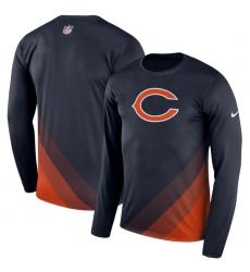 Men Chicago Bears Nike Navy Sideline Legend Prism Performance Long Sleeve T Shirt