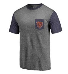 Men Chicago Bears Pro Line by Fanatics Branded Heathered GrayNavy Refresh Pocket T Shirt