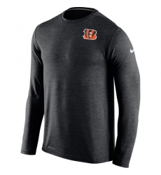 Men Cincinnati Bengals Nike Black Dri FIT Touch Long Sleeve Performance T Shirt
