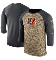Men Cincinnati Bengals Nike Camo Anthracite Salute to Service Sideline Legend Performance Three Quarter Sleeve T Shirt