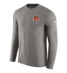 Men Cincinnati Bengals Nike Charcoal Coaches Long Sleeve Performance T Shirt