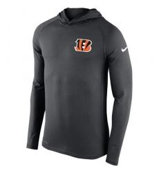 Men Cincinnati Bengals Nike Charcoal Stadium Touch Hooded Performance Long Sleeve T Shirt