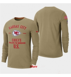 Men Chiefs Tan 2019 Salute to Service Sideline Long Sleeve T Shirt