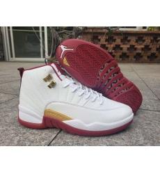 Air Jordan 12 Retro GS White Wine Red Men Shoes